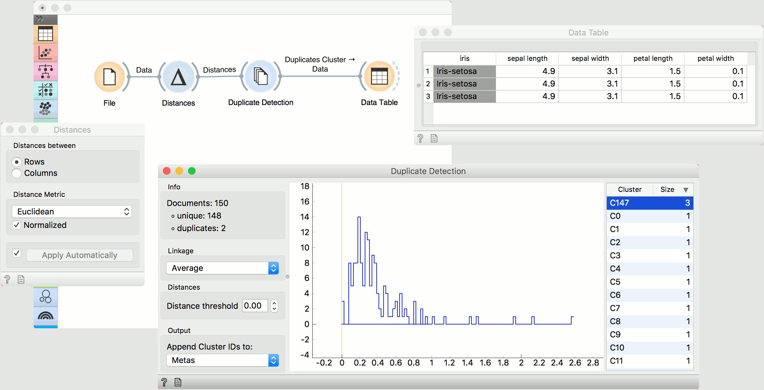 Duplicate Detection — Orange3 Text Mining documentation